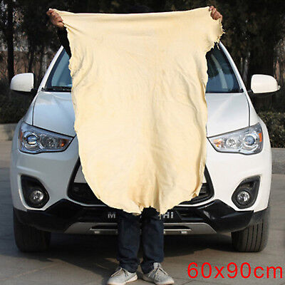 Large Natural Chamois Leather Car Cleaning Cloth Absorbent Drying Towel 90*60cm • 7.03£
