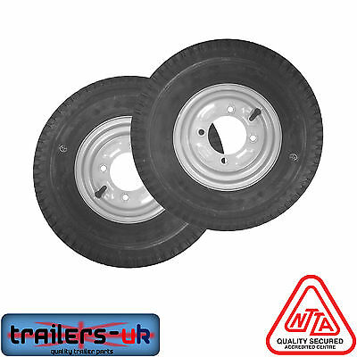 2 X Trailer Wheels And Tyres 480/400 X 8  Fit MP6812, Daxara 127 And Erde 122 • 46.99£