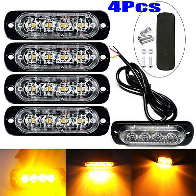 4x 4 LED Amber Recovery Strobe Flashing Grille Light Lightbar Truck Beacon Lamp • 10.87£