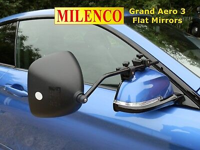 Milenco Grand Aero 3 FLAT Towing Mirrors - Complete With FREE Storage Bag • 63.49£