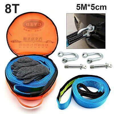 Heavy Duty Car Tow Rope 2 Yr Warranty 8 Ton Load 5m -+ Carry Bag+Pair Of Gloves • 10.49£