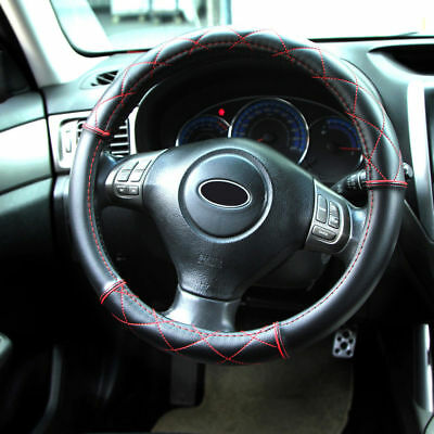 Universal 38CM Soft Leather Car Steering Wheel Cover Black With Red Cross Stitch • 8.69£