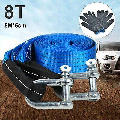 Tow Rope 8T 4x4 Heavy Duty Towing Pull Strap Road Recovery With Two Shackles • 10.59£
