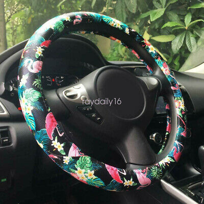 Automotive Flamingo Pattern PU Leather Car Steering Wheel Cover Protector 15  • 10.44£