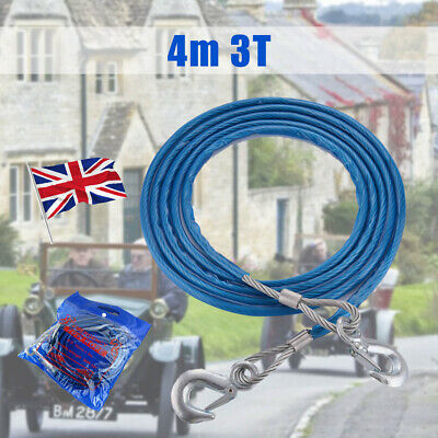 4m Heavy-Duty Emergency Steel Wire Rope Towing Car Recovery Hook 3 Tonne • 8.99£