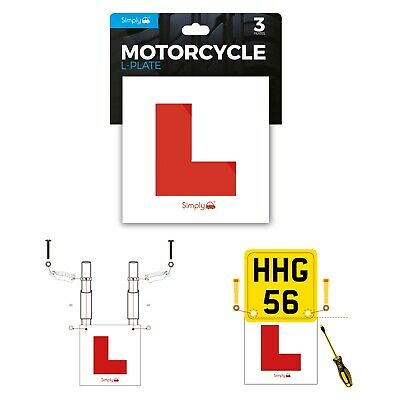 Simply 3 Pack Motorcycle Motorbike Scooter Learner L Plates Adhesive & Fittings • 8.99£