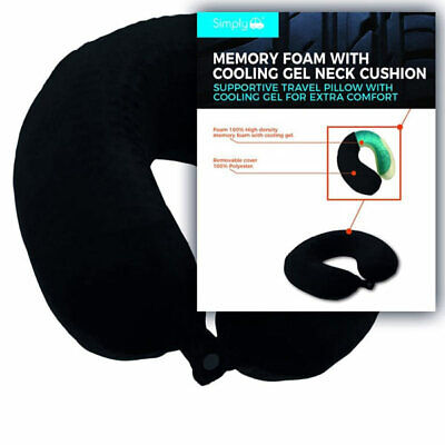 BGNC01 Neck Cushion Black High Density Memory Foam With Cooling Gel By Simply • 22.65£