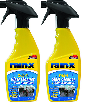 2 X Rain X 2in1 Glass Cleaner And Rain Repellent 500ml Trigger Spray • 12.99£