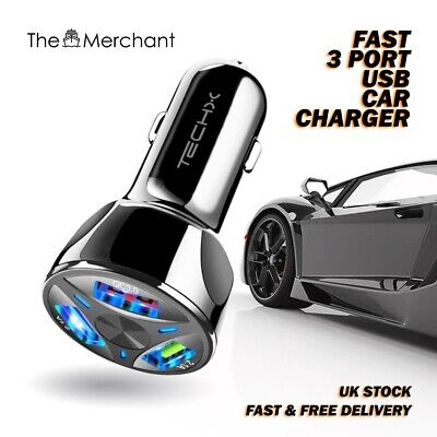FAST CAR CHARGER 3 USB Port For Iphone Samsung Huawei Universal Socket Adapter • 5.19£