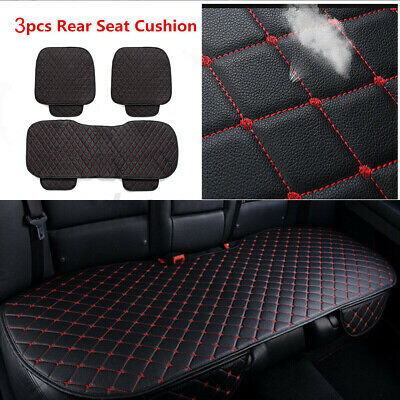 3pcs Universal Front Rear Car Seat Cover Breathable PU Leather Pad Cushion Black • 14.99£