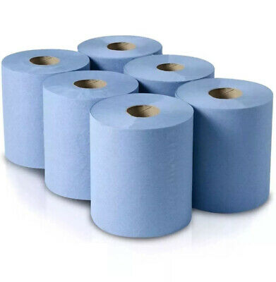 6 X Jumbo Workshop Hand Towels Rolls 2 Ply Centre Feed Embossed Wipes Tissue • 6.99£