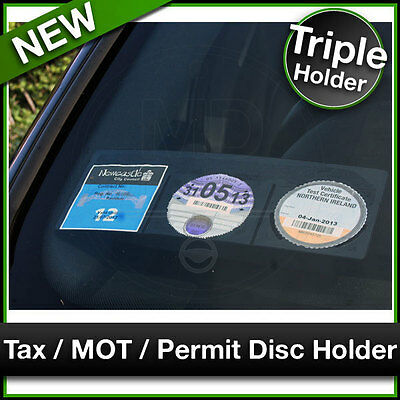 Car Van TAX / MOT / NCT / PARKING PERMIT / INSURANCE DISC HOLDER Black TRIPLE • 3.50£