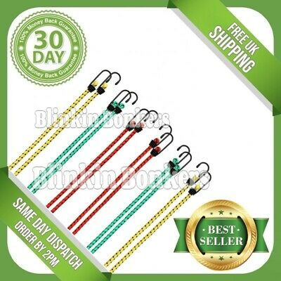 12 Bungee Straps Cords Set With Hooks Elasticated Rope Cord Car Bike Luggage • 4.49£