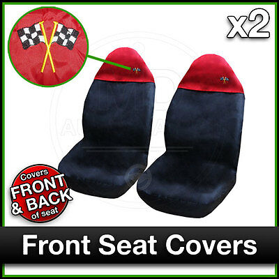 BLACK And RED Car Seat Covers UNIVERSAL Protectors PAIR X 2 Water Proof FRONT • 11.50£