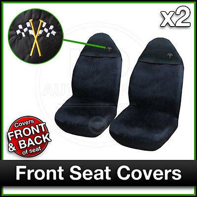 BLACK Car Seat Covers UNIVERSAL Protectors PAIR X 2 Water Proof FRONT • 10.50£