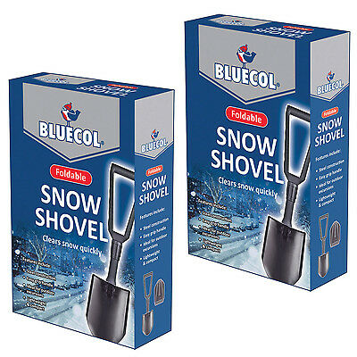 2 X Bluecol Compact Metal Folding Snow Shovel Spade Ice Pick Car Garden Camping • 16.99£
