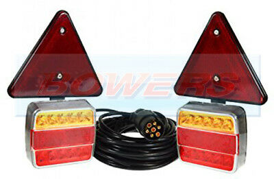 Waterproof 12v Magnetic Led Trailer Towing Lights Lamps Triangles With 6m Cable • 37.99£