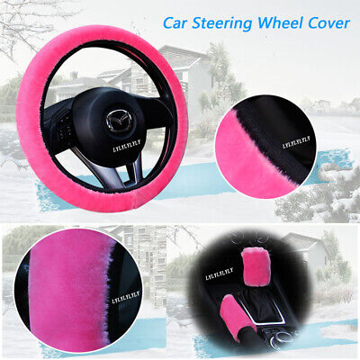 Pink Fluffy Steering Wheel Cover/Glove-Pink-Universal Fits 37-39cm Diameter 3x • 5.15£
