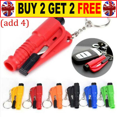 Emergency Safety Escape Car Window Glass Breaker Hammer Keyring Seat Belt Cut D3 • 4.24£