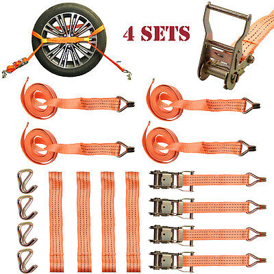 4 Sets Safety Trailer Of Tow Rope Set Wheel Straps Recovery Ratchet Tie Down NEW • 24.77£