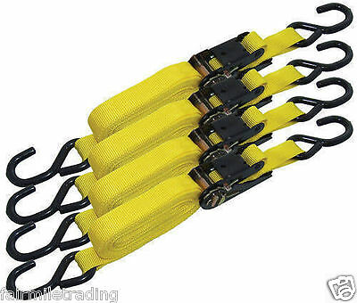 4 X Ratchet Straps 1  X 15' Quick Release Tie Down Luggage Cargo Lashing Marquee • 10.99£