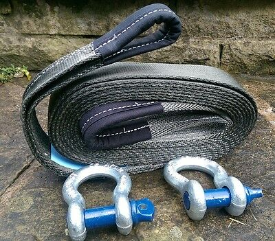 MADE IN UK 4x4 RECOVERY TOWING ROPE STRAP 5M 7 TON & 2 X 3.25T TESTED SHACKLES  • 39.99£