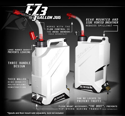 RISK RACING EZ3 3 Gallon Gas Gerry Petrol Can Utility Jug And Hose Bender Spout • 40.99£