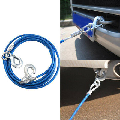 4m Heavy-Duty Emergency Steel Tow Rope Towing Car Recovery Hook 5 Ton 5000KG • 9.99£