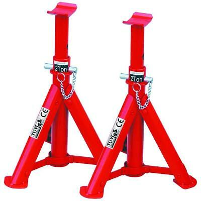 Heavy Duty Hilka 2 Ton Tonne Folding Axle Stand Stands Jack In Red Pair 82420040 • 19.95£