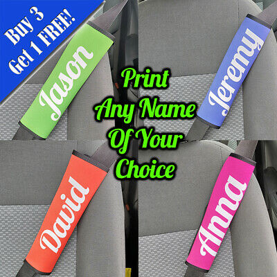 Personalised Printed Seat Belt Cover Printed With Any Name - Blue • 9.95£