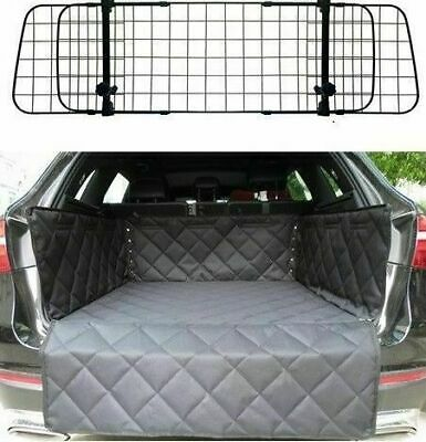 AUDI A4 AVANT ESTATE - Quilted Car Boot Liner Mat & Mesh Grill Dog Barrier Guard • 44.96£