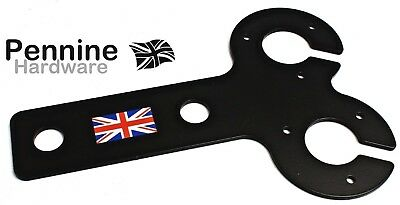 BLACK Tow Bar Ball Trailer VERTICAL DOUBLE ELECTRIC MOUNT Plate Fitting Bracket • 6.35£