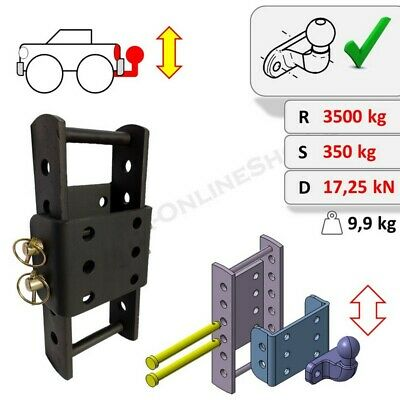 Tow Bar Ball Hitch Drop Plate Height Adjuster 370 Mm Highly Universal Heavy Duty • 111.99£