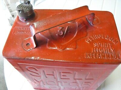 SHELL Fuel Can, Two Gallons, Marked As 3/-! About 95-100 Years Old Usable! • 30£