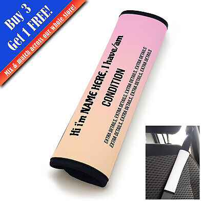 Personalised Medical Seat Belt Cover Vertical Text Pink-Peach • 11.95£