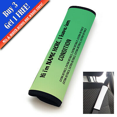 Personalised Medical Seat Belt Cover Vertical Text Green-Lime • 11.95£