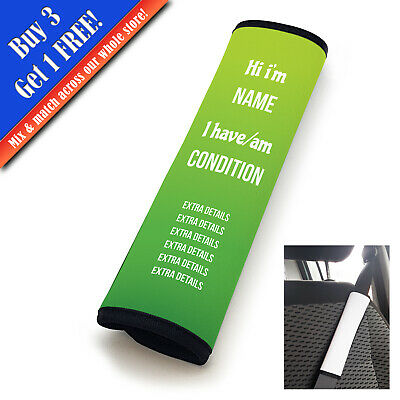 Personalised Medical Seat Belt Cover Horizontal Text Lime-Green • 11.95£