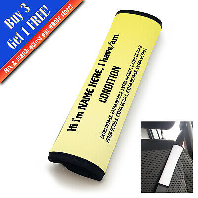 Personalised Medical Seat Belt Cover Vertical Text Yellow Fade • 11.95£