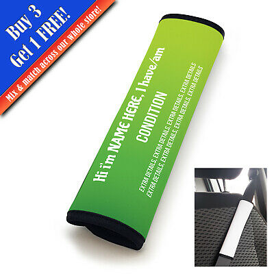 Personalised Medical Seat Belt Cover Vertical Text Lime-Green • 11.95£