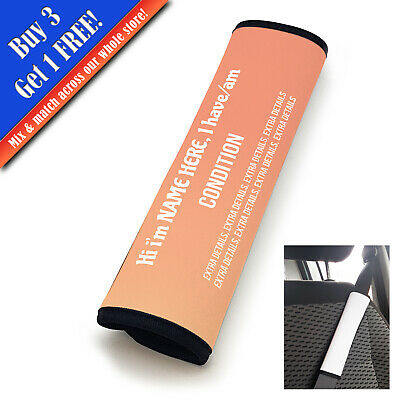 Personalised Medical Seat Belt Cover Vertical Text Peach Fade • 11.95£