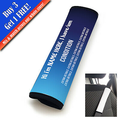 Personalised Medical Seat Belt Cover Vertical Text Blue Fade • 11.95£