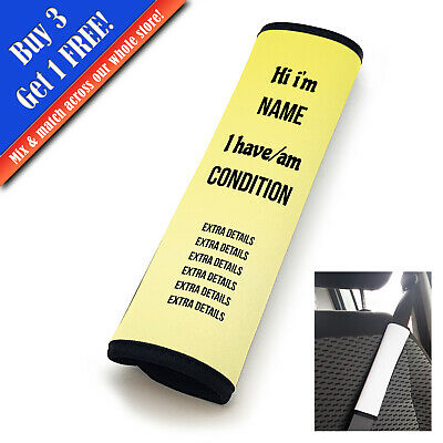 Personalised Medical Seatbelt Cover Horizontal Text Yellow Fade • 11.95£