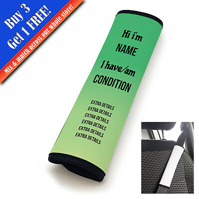Personalised Medical Seatbelt Cover Horizontal Text Green-Lime • 11.95£