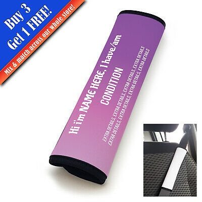 Personalised Medical Seat Belt Cover Vertical Text Purple Fade • 11.95£
