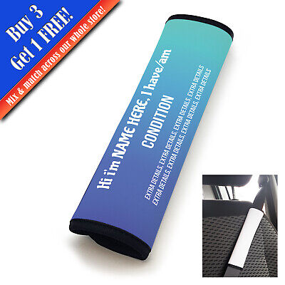 Personalised Medical Seat Belt Cover Vertical Text Sky Fade • 11.95£