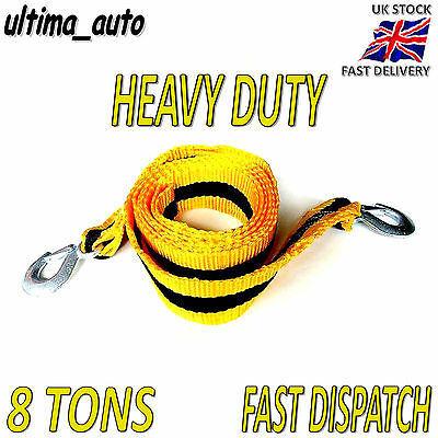 8 TONNE 8T 3M Tow Towing Pull Rope Strap Heavy Duty Road Recovery Car Van 4x4 • 9.28£