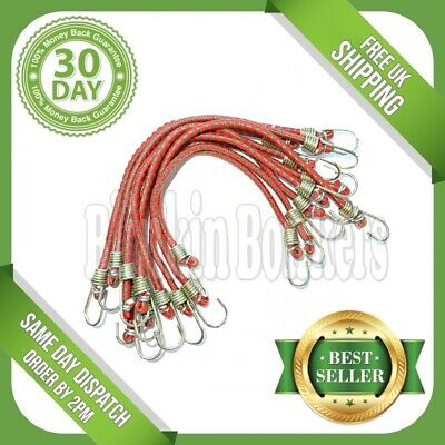 10 Piece Bungee Cords 10  Mini Small Short Elastic Straps Shock Hooks Stretch 17 • 2.95£