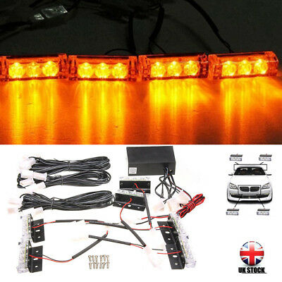 12V Car 6 Amber LED Flashing Grill Strobes Lights Bar Warning Recovery Breakdown • 10.39£