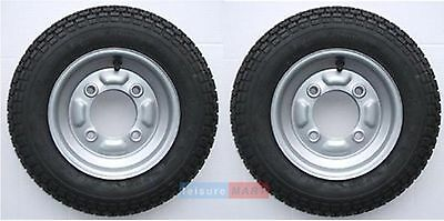 A Pair Of 3.50 X 8 Inch Trailer Wheels And 4 Ply Tyres With 115mm PCD Erde 102 • 45.97£