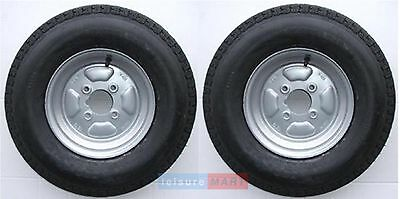 A Pair Of 500 X 10 Inch Trailer Wheels And Tyres With 6 Ply Tyre And 4 Inch PCD • 85.97£